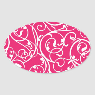 Elegant Berry Pink Vintage Scroll Damask Pattern Oval Sticker