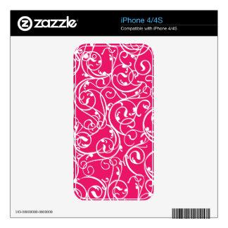 Elegant Berry Pink Vintage Scroll Damask Pattern iPhone 4S Decal