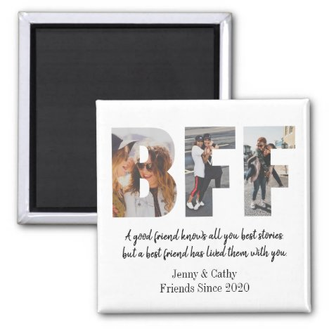 Elegant BFF Photo Collage Best Friend Chic Besties Magnet