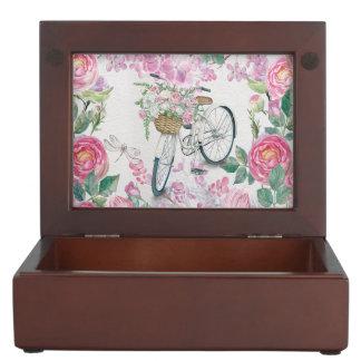 Elegant Bicycle and Flowers Keepsake Box