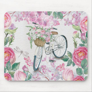 Elegant Bicycle and Flowers Mouse Pad