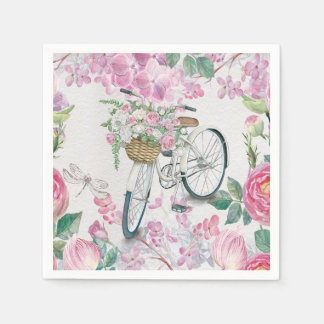 Elegant Bicycle and Flowers Paper Napkin