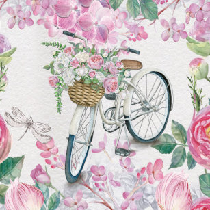 With basket bicycle plates zazzle elegant bicycle and flowers paper plate mightylinksfo
