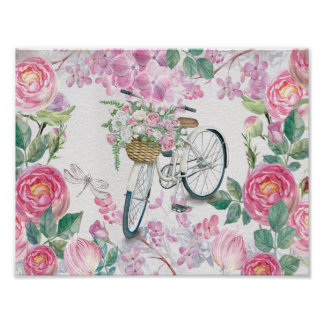 Elegant Bicycle and Flowers Poster