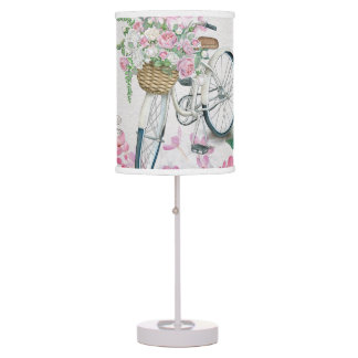 Elegant Bicycle and Flowers Table Lamp