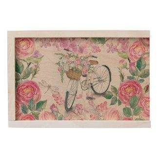 Elegant Bicycle and Flowers Wooden Keepsake Box