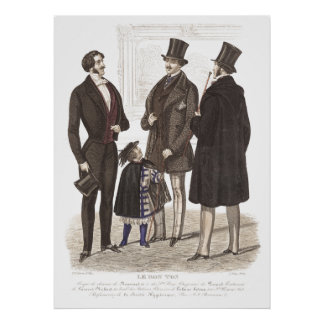 Elegant Biedermeier Gentlemen in Top Hats Poster