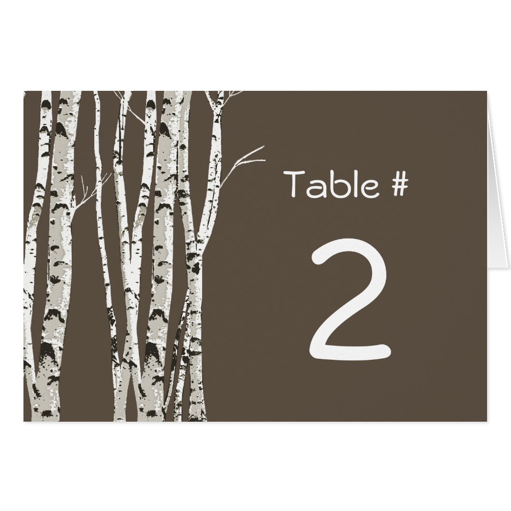 Elegant Birch Trees Wedding Table Number Greeting Cards