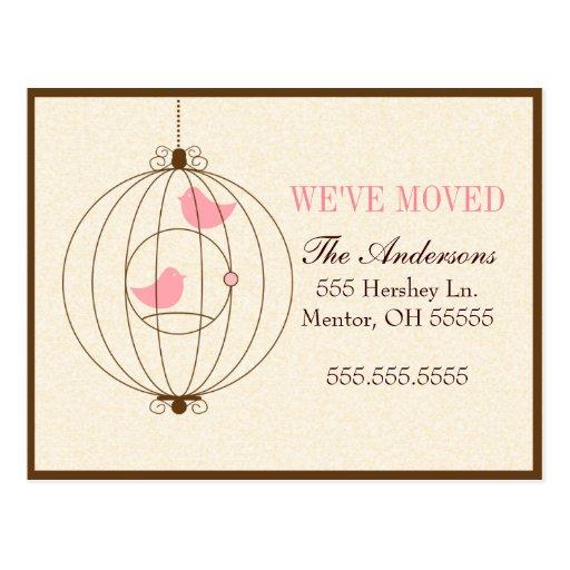 Elegant Bird Cage Moving Announcements Postcard