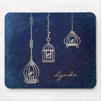 Elegant Bird Cages Blue Mouse Pad