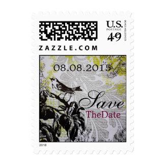 elegant bird floral spring vintage Wedding Stamps