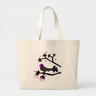 Elegant Bird on Branch Silhouette Bags