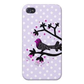 Elegant Bird on Branch Silhouette iPhone 4 Cases