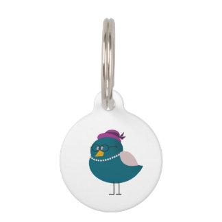 Elegant Bird Small Round Pet Tag
