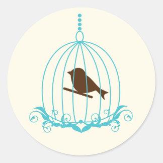 Elegant Birdcage Round Stickers