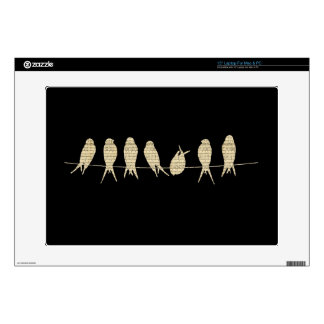 """Elegant Birds on a Wire 15"""" Laptop Decal"""
