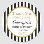 "Elegant Birthday Black Gold Thank You Favor Tags<br><div class=""desc"">Elegant birthday stickers featuring black and white stripes with sophisticated gold glitter accent frame. These fashionable and stylish birthday stickers will be a hit for any birthday party decor or as favor tags. Great for 21st 30th 35th 40th 45th 50th 60th 65th 70th 75th 80th 85th 90th 95th, 100 and...</div>"