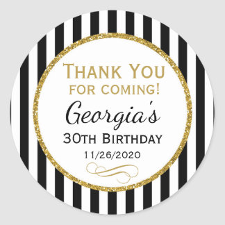 Elegant Birthday Black Gold Thank You Favor Tags