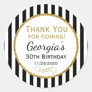 Elegant Birthday Black Gold Thank You Favor Tags Classic Round Sticker