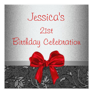 Elegant Birthday Black Silver Floral Red Bow Card