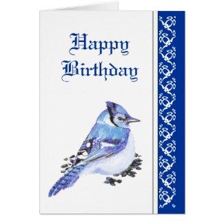 Elegant Birthday, Blue Jay, Bird Nature Wildlife Greeting Card