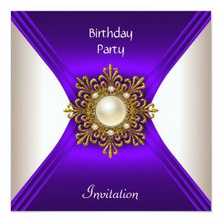 Elegant Birthday Cream Purple Gold Pearl Jewel Card