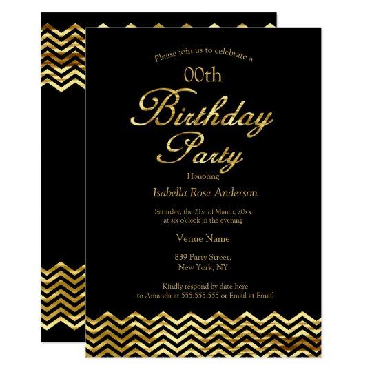 Elegant Birthday Gold Shimmer Chevron Stripe Black Invitation