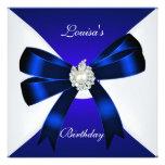 Elegant Birthday Invite Royal Blue Pearl White Personalized Announcement