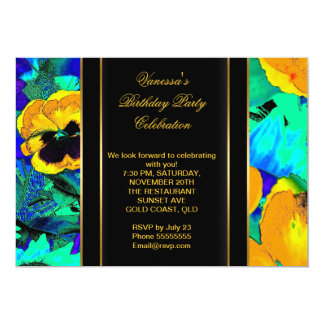 Elegant Birthday Party Abstract Flowers Card