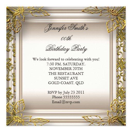 Elegant Birthday Party Beige Cream Damask Invites