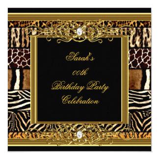 Elegant Birthday Party Black Gold Mixed Animal Card