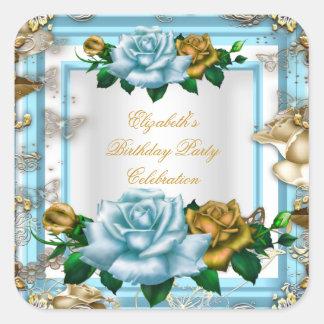 Elegant Birthday Party Blue Roses White Gold Cream Square Sticker