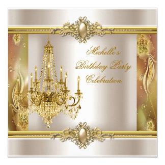 Elegant Birthday Party Cream Gold Pearl Chandelier Invitation