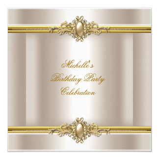 Elegant Birthday Party Cream Gold Pearl Jewel Card