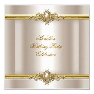 Elegant Birthday Party Cream Gold Pearl Jewel Invitation