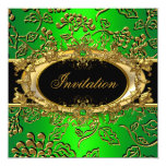 Elegant Birthday Party Damask Lime Green Gold Card