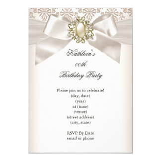 Elegant Birthday Party Damask Pearl Cream 3 5x7 Paper Invitation Card