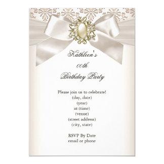 Elegant Birthday Party Damask Pearl Cream 3 Card