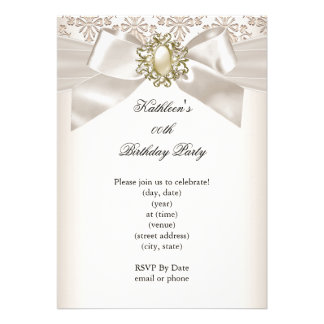Elegant Birthday Party Damask Pearl Cream 3 Personalized Announcements