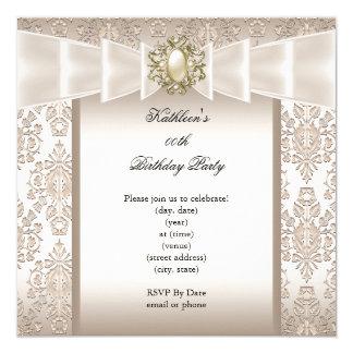 Elegant Birthday Party Damask Pearl Cream Card