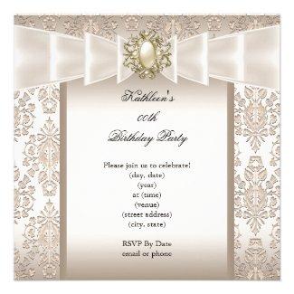 Elegant Birthday Party Damask Pearl Cream Invitation