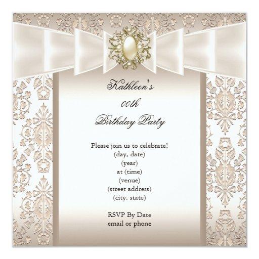 Elegant Birthday Party Damask Pearl Cream Invitation | Zazzle