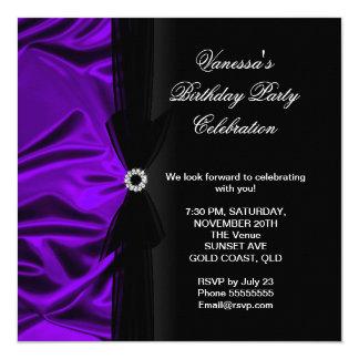 Elegant Birthday Party Deep Purple Silk Black 5.25x5.25 Square Paper Invitation Card