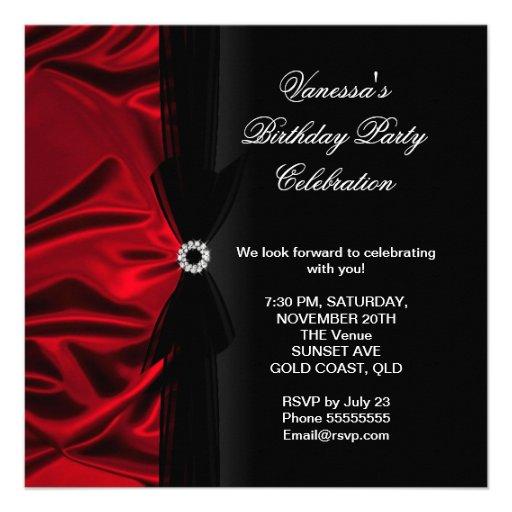Elegant Birthday Party Deep Red Silk Black Custom Invites