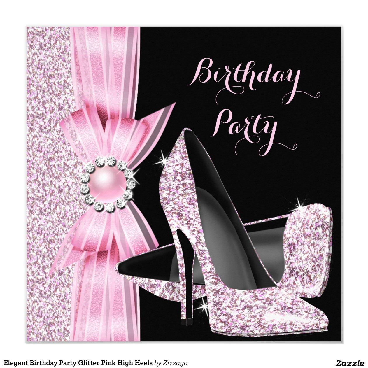 elegant birthday party glitter pink high heels 5 25x5 25