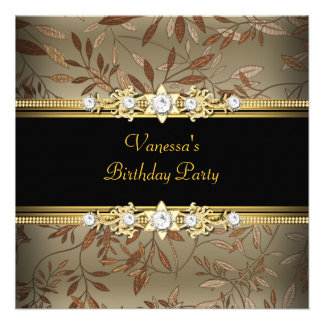 Elegant Birthday Party Gold Black Floral Brown Announcements