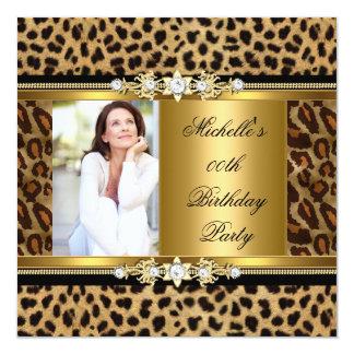 Elegant Birthday Party Gold Black Leopard Card