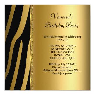 Elegant Birthday Party Gold Black Zebra Stripe 5.25x5.25 Square Paper Invitation Card