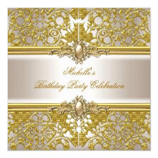 Elegant Birthday Party Gold Damask Cream Gold Invitation