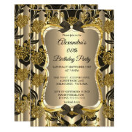 Elegant Birthday Party Gold Sepia Black Damask